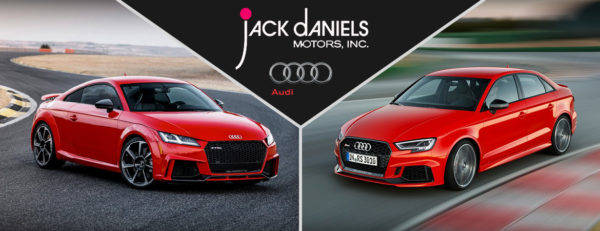 "Custom image of a 2018 Audi RS 3 and 2018 Audi TT RS facing each other with the words ""Jack Daniels Motors, INC."" and ""Audi"" at the top"