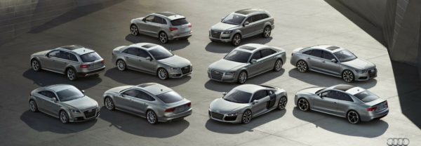 A lineup of Audi cars and SUVs featured in a blog post about cars for sale in Paramus, NJ