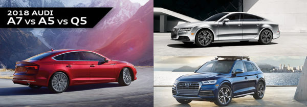 The Audi A7, A5, and Q5 featured in a blog post about new Audi models