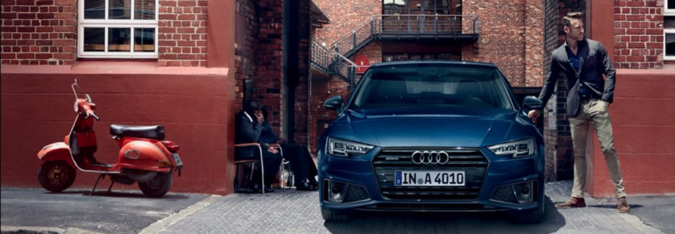 Blue 2019 Audi A4 parked on side street