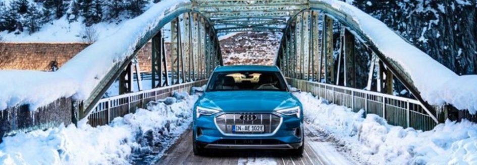 2019 Audi E-tron Paramus driving on a frosty bridge